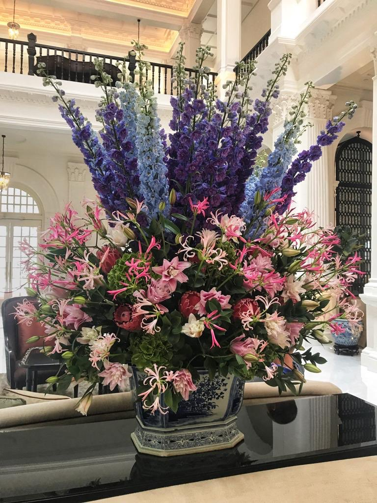 Raffles Hotel Sin On Twitter Delphiniums Bring Unrivalled Height And Colour To The Display Of Flowers This Week Befitting Of The Grandeur Of The Grand Lobby Beautiful Work By Floral Boutique By