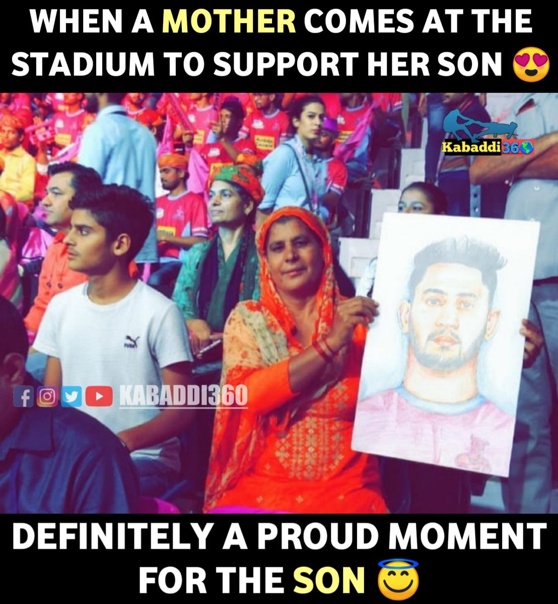 @JaipurPanthers defender Sandeep Kumar Dhull's mother spotted supporting him during Jaipur's match against Bengal Warriors.  #SandeepDhull  #motherlove #jaipurpinkpanthers  #vivoprokabaddi  #PKLwithKabaddi360
