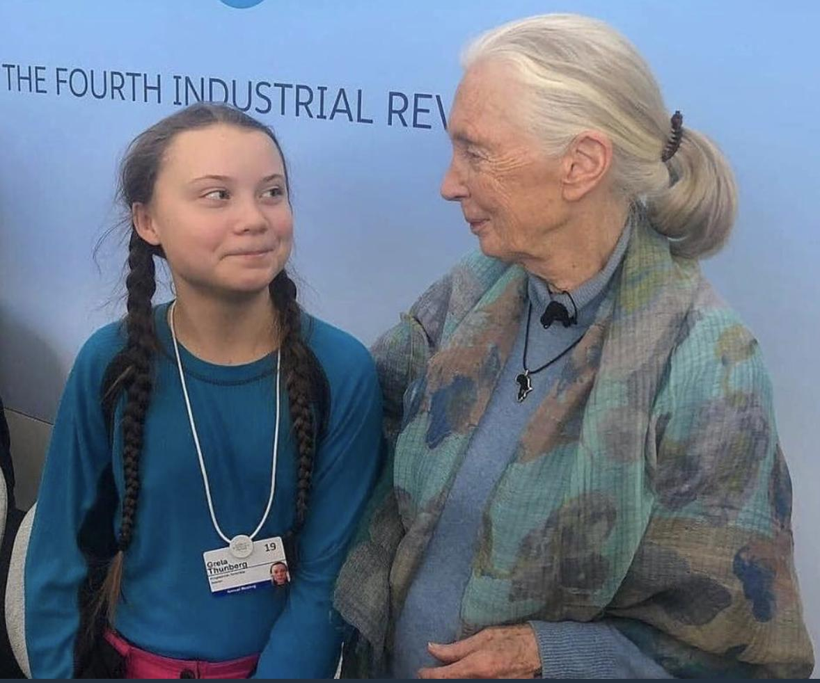 Here is 84 year-old anthropologist Jane Goodall with 16 year-old climate activist Greta Thunberg at an event in Switzerland in January. Happy Monday, have a wonderful week, never forget that you can change the world.