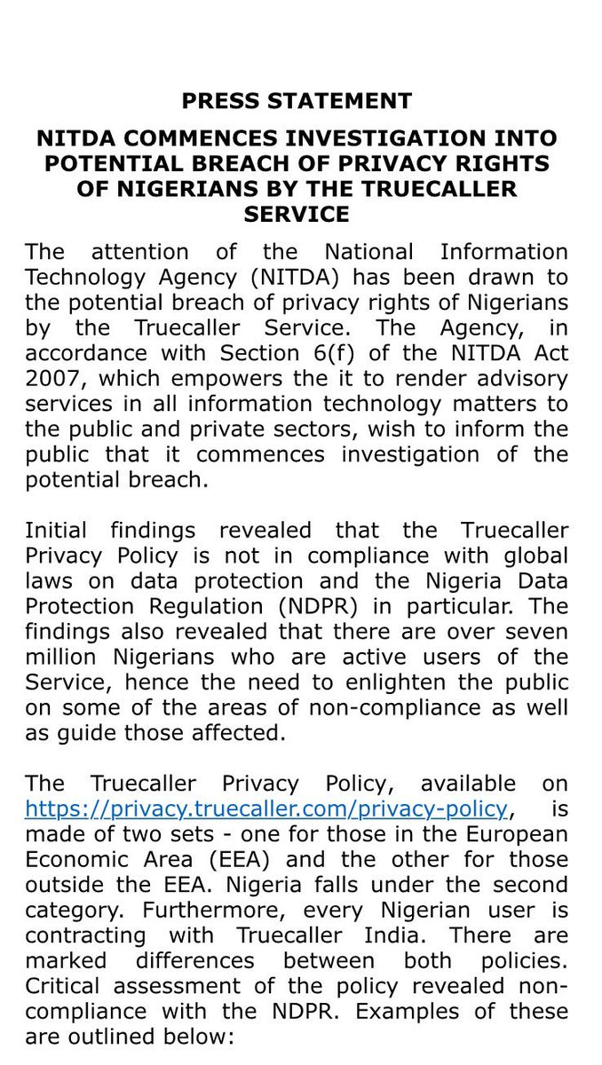 PRESS STATEMENT NITDA COMMENCES INVESTIGATION INTO POTENTIAL BREACH OF PRIVACY RIGHTS OF NIGERIANS BY THE TRUECALLER SERVICE