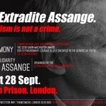 Journalism is not a crime! Belmarsh Prison, London. 2pm Sat Sept 28. #FreeAssange #Artists4Assange