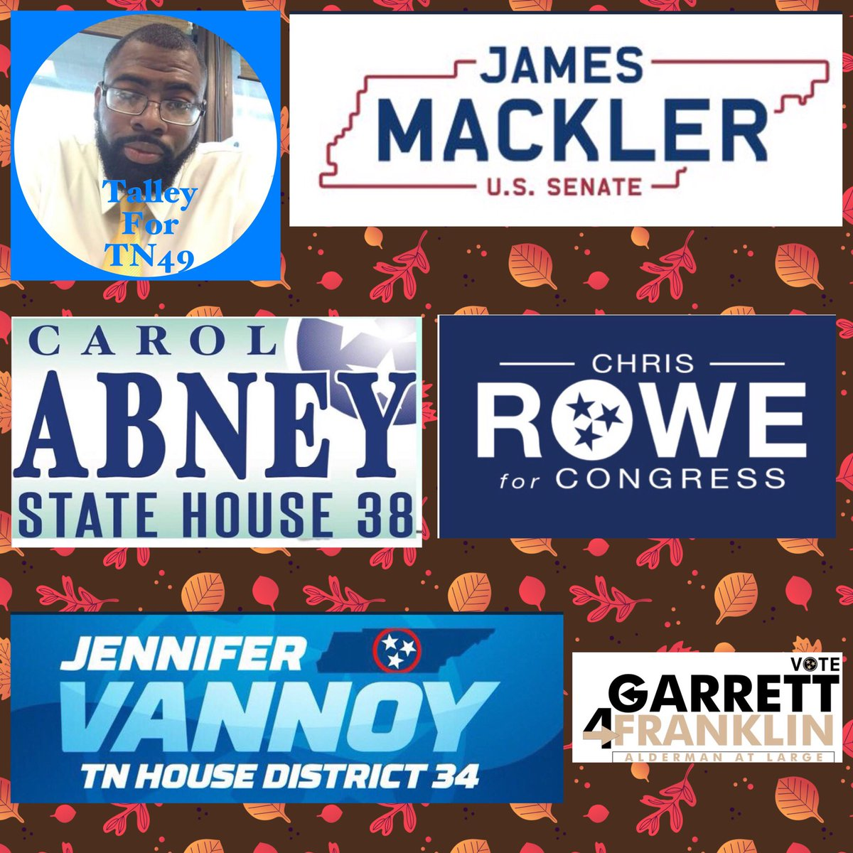 Happy Fall y'all! #FirstDayofFall and a great day to fall for these blue candidates! Follow and support: @James_Mackler @Talley4TN @ElectCarolAbney @ChrisForTN1 @JenVannoyTN @Garrett4Frnkln Democracy starts with local elections. Don't 🍁 leaf 🍂 anyone out!
