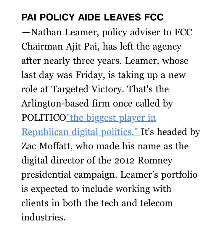 It's @Politico official. Excited to join Targeted Victory as a Vice President on their public affairs team. It's Happening!