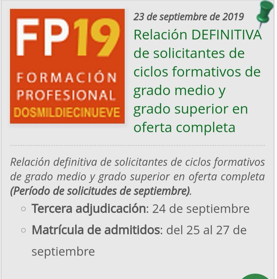 Fp Andaluza On Twitter Se Ha Publicado La Relación