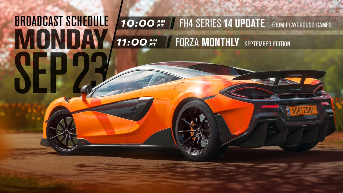 What a day in store for you today! First up at 10am Pacific/6pm UK we have a #ForzaHorizon4 Series 14 Update from @WeArePlayground followed straight after by our September #ForzaMonthly show! If youre a Forza fan youre not going to want to miss these! mixer.com/forza