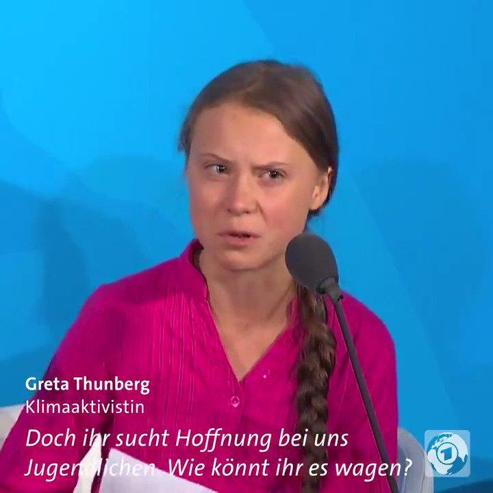 """""""Wie könnt ihr es wagen?"""" - Mit Tränen in den Augen hat Greta #Thunberg in einer wütenden Rede Politikern aus aller Welt eklatantes Versagen beim #Klimaschutz vorgeworfen. #ClimateActionSummit"""