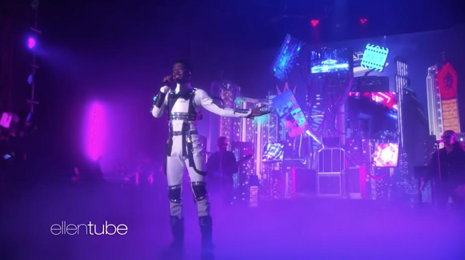 """See Lil Nas X conjure the futuristic cityscapes of his """"Panini"""" video during an appearance on #Ellen rol.st/2kTw0KT"""