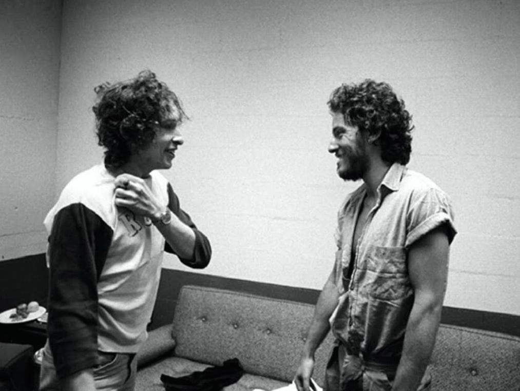 Springsteen, born 70 years ago today, meets Dylan in 1975: #Regan