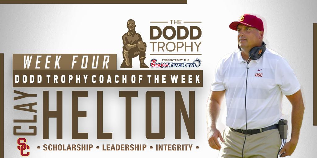 Congratulations @USCCoachHelton — the #DoddTrophy Coach of the week! Coach Helton led @USC_FB a huge win, defeating Utah on Saturday. #FightOn 📰 bit.ly/2lbmlzl