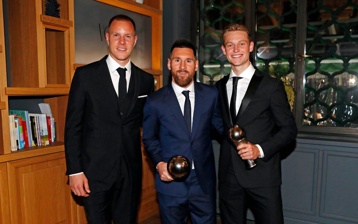 A special night in Milan celebrating our beautiful game, football. A big congratulations to both Messi and Frenkie. Força Barça!