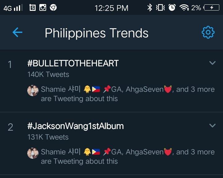 @JacksonWang852 #BULLETTOTHEHEART & #JacksonWang1stAlbum are trending at #1 & #2 here in Philippines.  :  https:// youtu.be/NZbsCXrBcyA      #BulletToTheHeart  #JacksonWang1stAlbum #JacksonWang #王嘉尔 #잭슨 #TEAMWANG #GOT7  @GOT7Official #JacksonWangMIRRORS #JacksonWangBulletToTheHeart <br>http://pic.twitter.com/8FISIth82I
