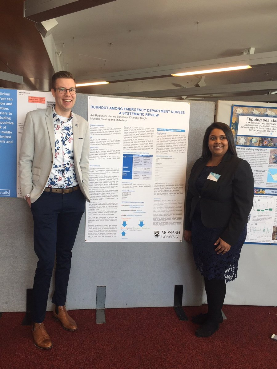 At #ICUR19, students also can present their research in poster presentations. @Monash_FMNHS student Arti from @MonashUni Peninsula Campus displays her review on burnout among emergency department nurses @warwickuni