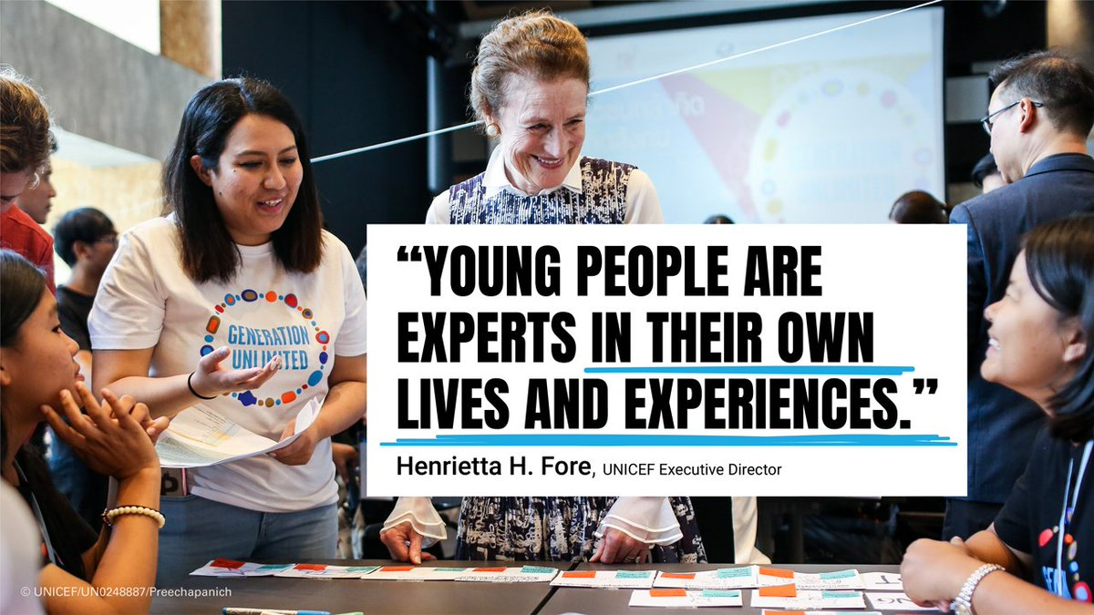 """""""We are bringing together bright young minds to solve problems in their communities, because young people are experts in their own lives and experiences,"""" says @unicefchief in an open letter #ForEveryChild. The @_GenUnlimited Youth Challenge has worked with over 800 innovators."""