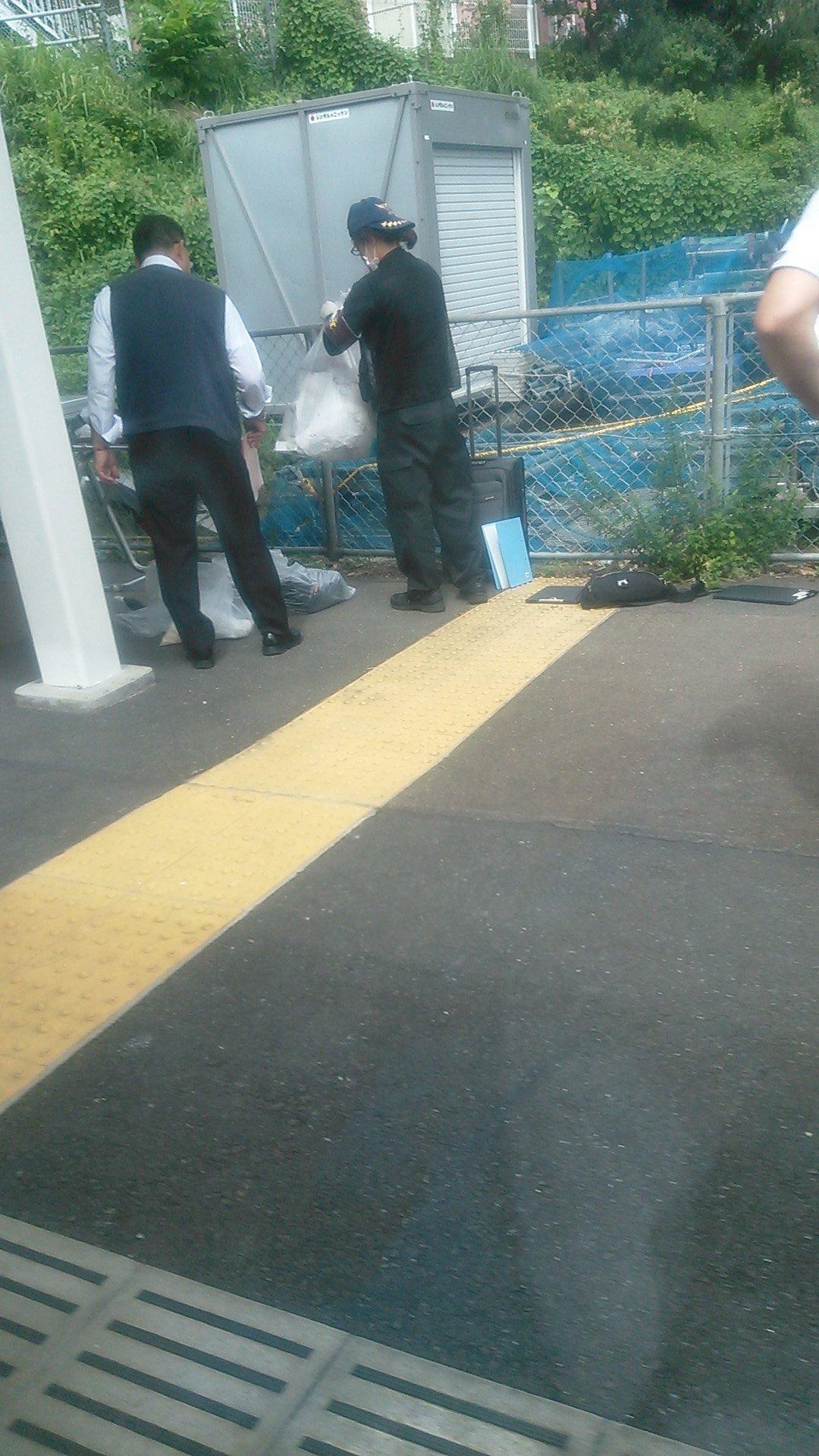 西国分寺駅の人身事故で現場検証している画像