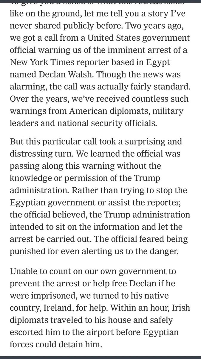 Wow -- NYT publisher says the Trump administration was prepared to sit back and allow one of its journalists to be arrested in Egypt. So the paper turned to the reporters native Ireland for help, and it was those diplomats who got him out -- not the US. nytimes.com/2019/09/23/opi…