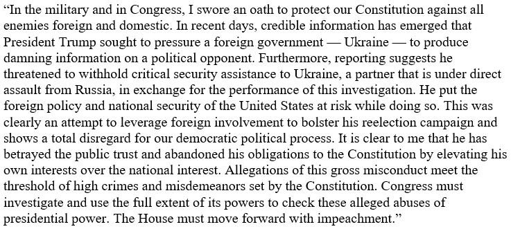 In the military and in Congress, I swore an oath to protect our Constitution against all enemies foreign and domestic. The House must move forward with impeachment. Read my full statement: