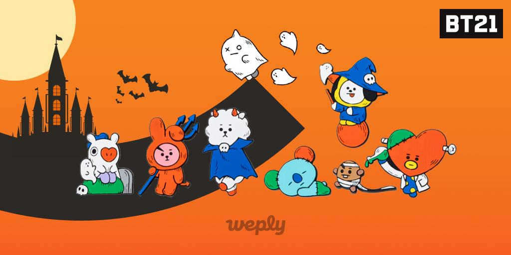 Boo-tiful BT21 are back with their Halloween costumes on! 🎃👻🍬 Check out the adorable 2019 BT21 Halloween Collection on Weply! 👉app.weply.io/opdn5 #Weply #BT21 #Halloween
