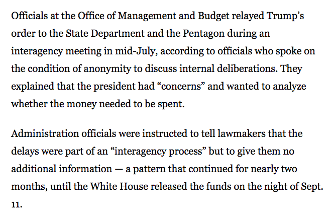 This might seem like a small detail, relatively speaking, but government officials were instructed to *LIE* to Congress about the reasons why appropriated funds werent being spent. How on earth did people go along with this?!!