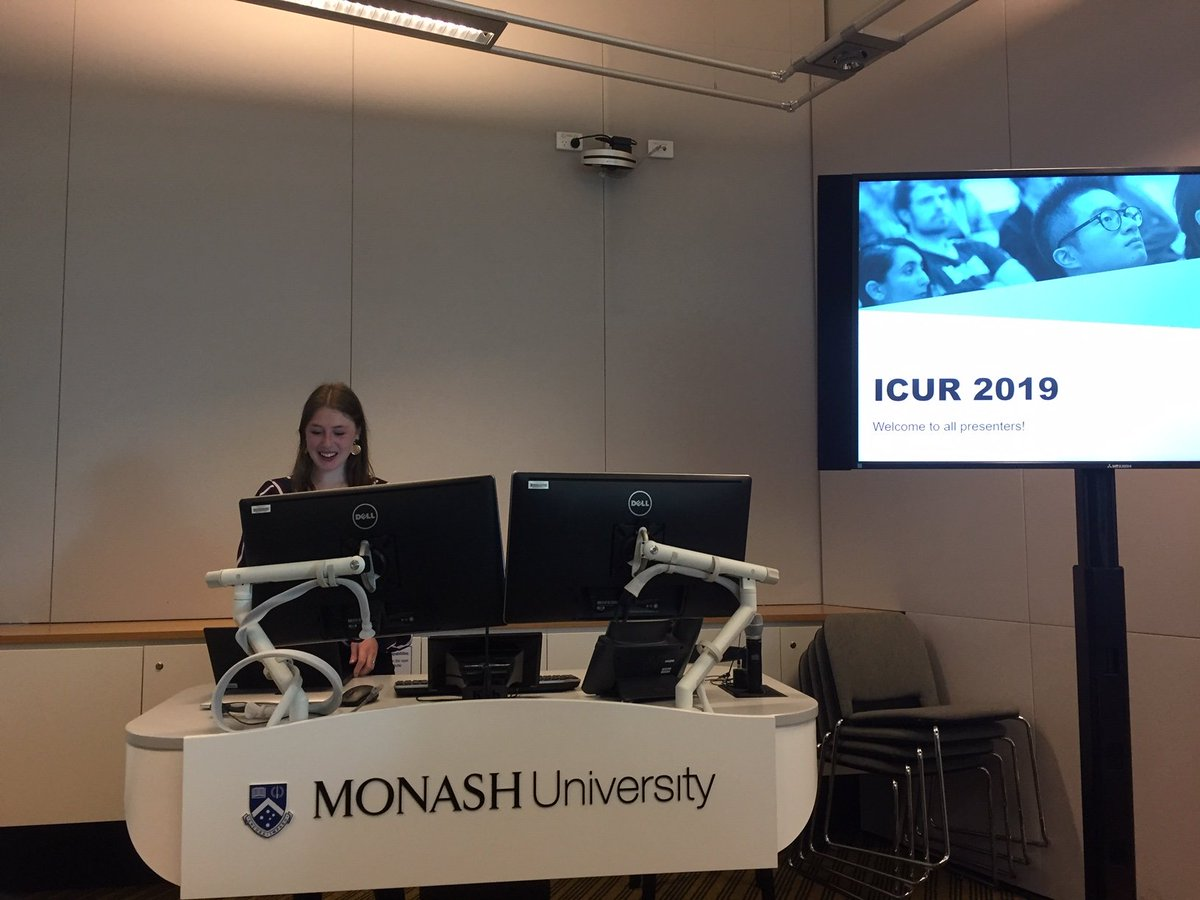 With more student presenters than ever before and 87 planned video linked sessions, Kate, Amy and Hannah successfully open #ICUR19! @MonashUni @warwickuni
