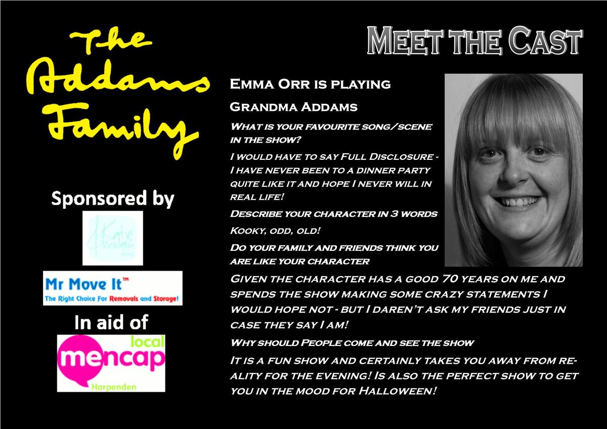 Today we meet our second character - Grandma, played by the fab Emma 😀🖤👻🧟‍♂️  8-12th October 2019 at the @HarpendenHalls  @HarpendenMencap   https://t.co/LI9pXXX4O8  #hmtctheaddamsfamily #whenyouranaddams #meettheaddams #supportlocaltheatre #amateurtheatre https://t.co/Eq1aiFzUtI