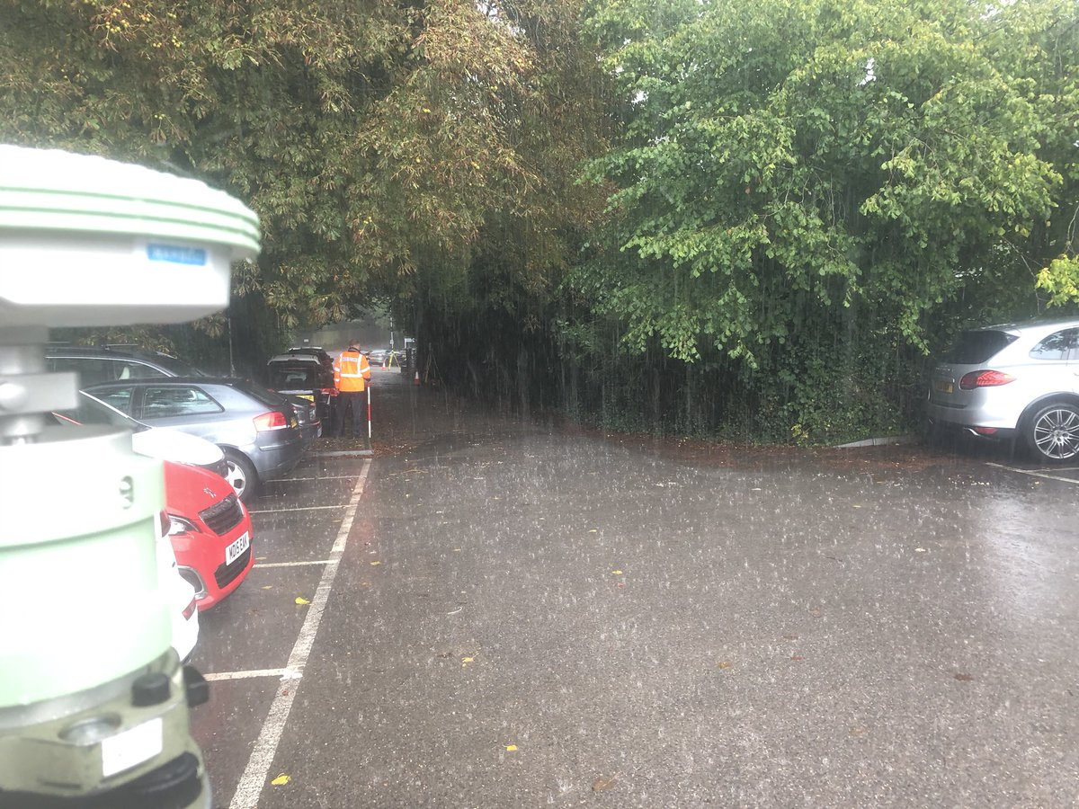 No escaping the downpour today while we undertake a #topographical #survey #gnss #wetthrough