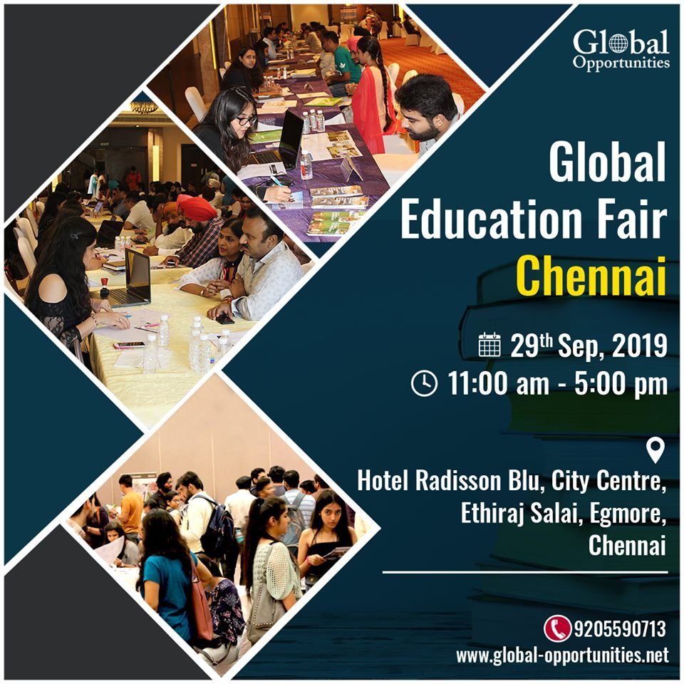 Global Education Fair Chennai To schedule, an appointment with delegates call 9205590713 For venue details and registration: https://www.global-opportunities.net/education-fair-2019/… #educationfair #educationfair2019 #StudyAbroad #OverseasEducationGuidance #AbroadEducation #Opportunity #overseaseducationpic.twitter.com/4JTQoWerMR