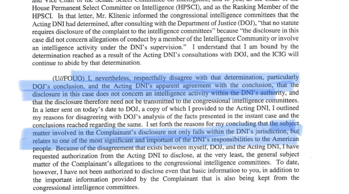 "That all suggests to me that the whistleblower story is likely to expand beyond the malfeasance we know of today. I also expect something that's (reasonably speaking) ""within the authorities and responsibilities of the DNI"" (the statutory scope of an ""urgent concern"")."