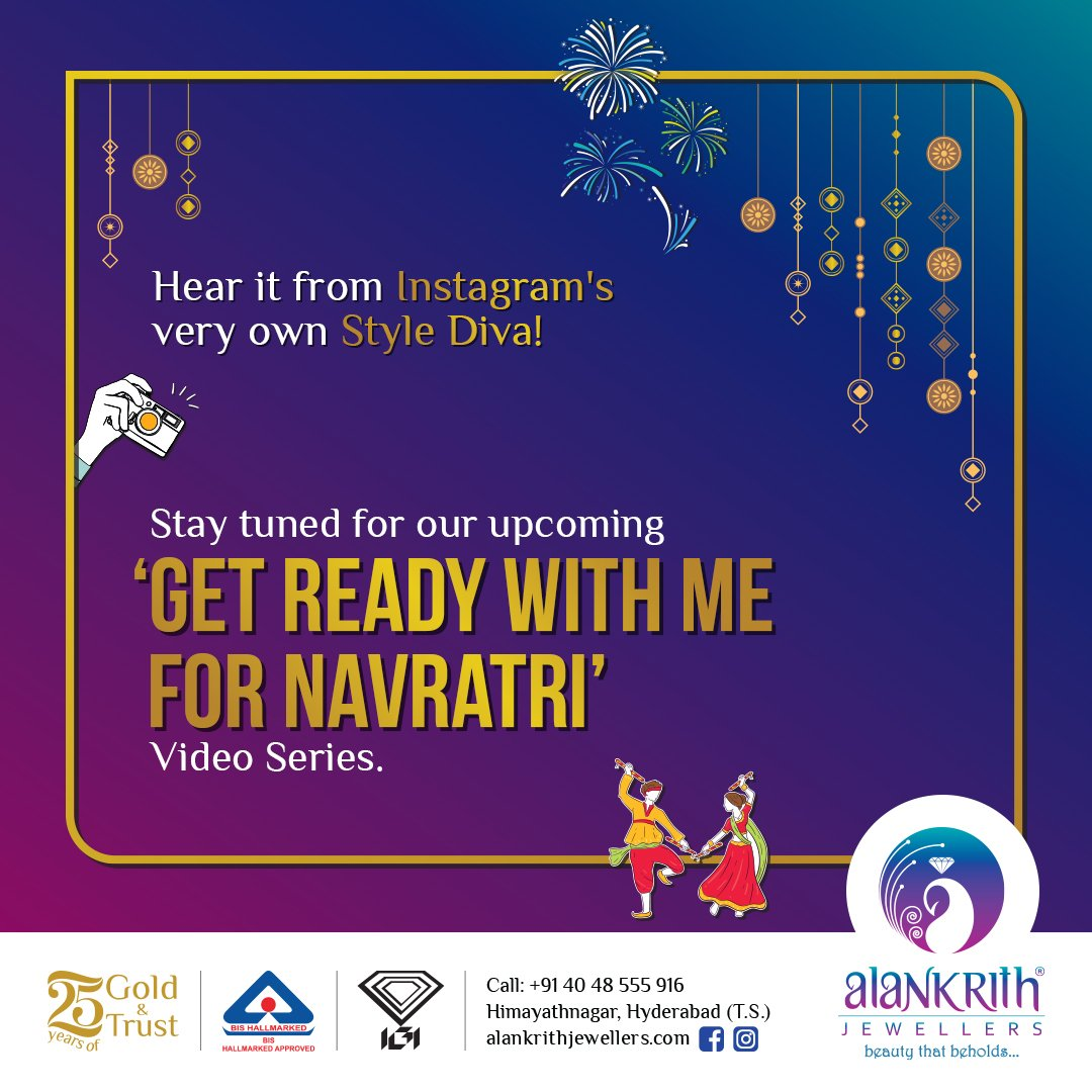 We have something exciting to share soon. We can't reveal much but we can give you a hint! Do join us between 29th September and 5th October for a date with the style expert herself! #GetreadyWithMeforNavratri #Navratrispecial, #Navratristyle #Lightweightgoldjewellery