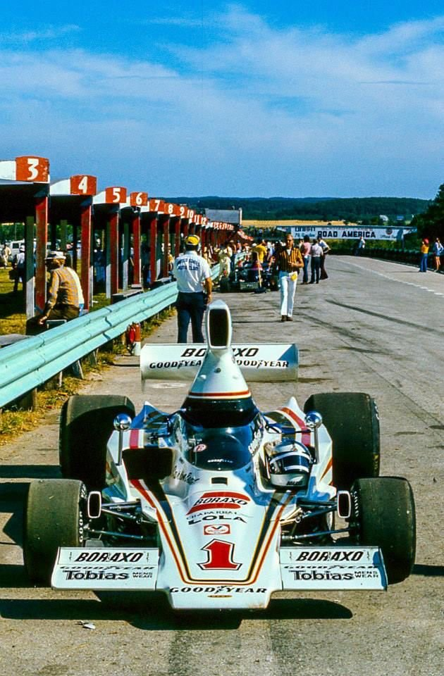 Elkhart Lake, Wisconsin, July, 1976. Brian Redmans No. 1 Carl A. Haas Racing Lola T332C Chevrolet in the pit lane at @RoadAmerica autoextremist.com/fumes1/