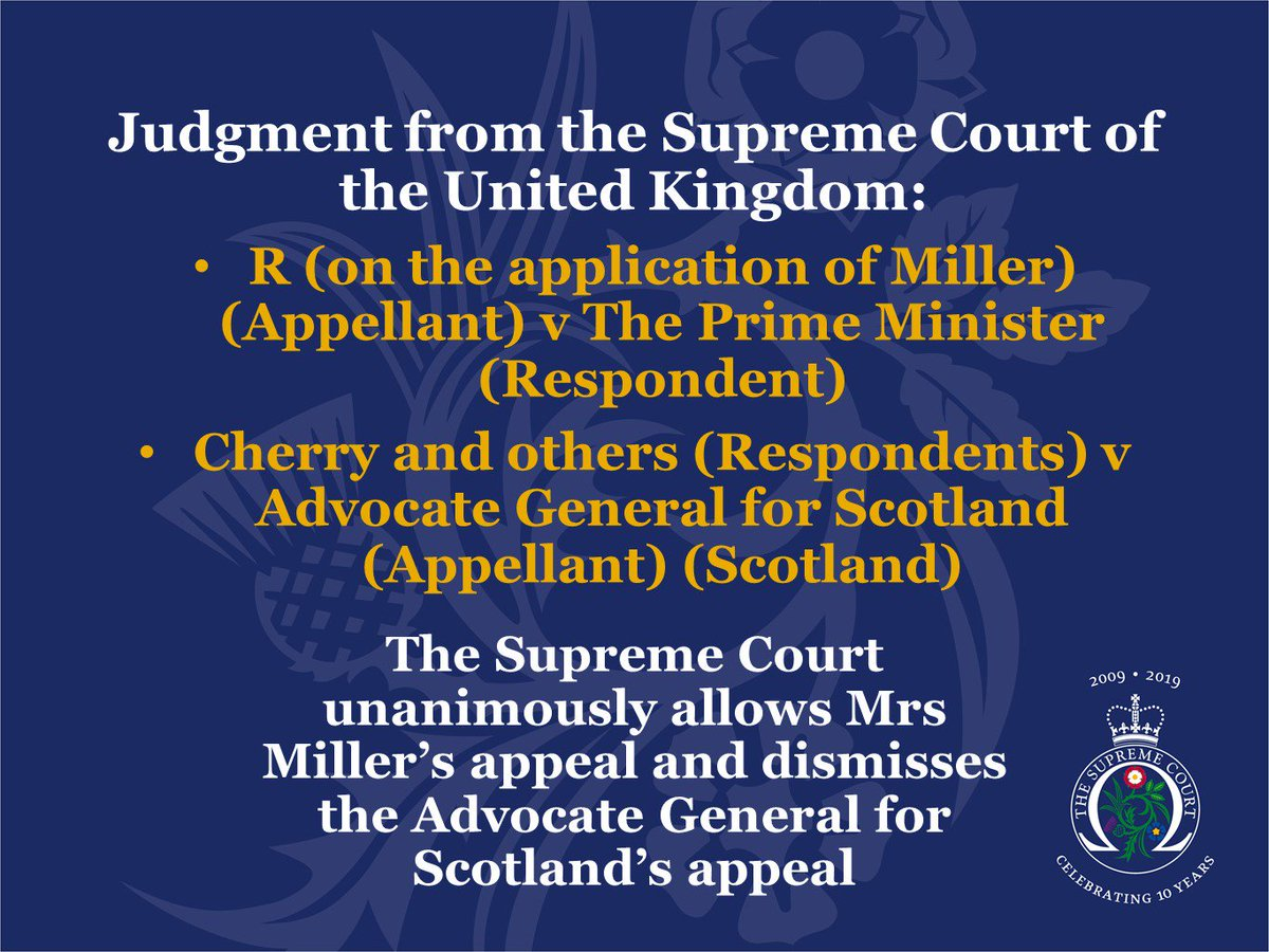 Judgment has been handed down this morning in the case of R (on behalf of Miller) v The Prime Minister and Cherry and others v Advocate General for Scotland supremecourt.uk/prorogation/in…