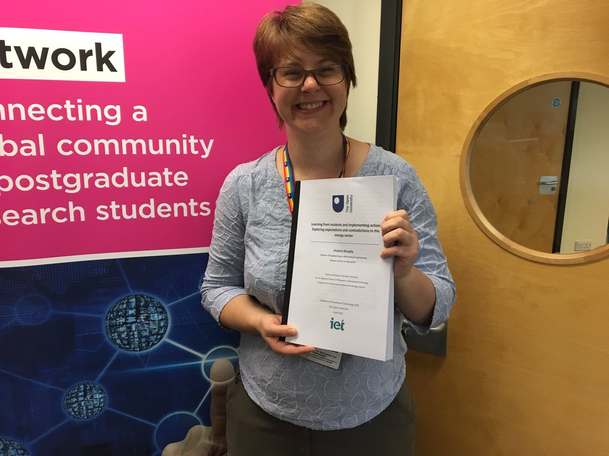 Today I submitted my PhD thesis! Many thanks to @IETatOU @OpenUniversity @EnergyInstitute  @allisonl and @DrBartRienties for their support and guidance over the past three years! Just the viva to go! #phdlife #learningfromincidents