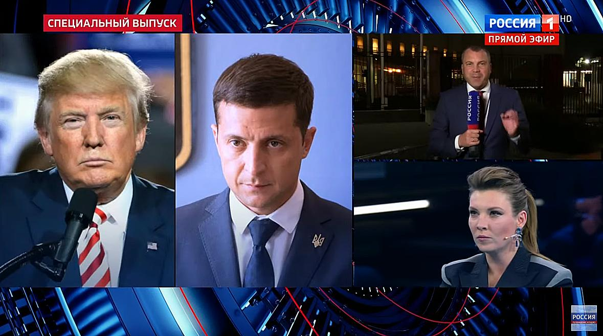 "Russia's state TV: Ukrainian diplomat Vadim Triukhan cites German newspapers: ""Trump won the first elections thanks to Russia and now he wants to be re-elected thanks to Ukraine."" Russian state TV host Evgeny Popov: ""Well, how else could you put it? That's exactly what happened."""