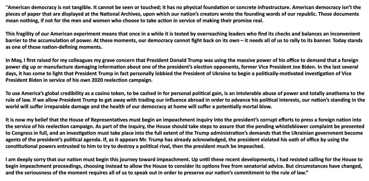 Chris Murphy On Twitter This Morning I Released The Following Statement Calling On The House To Begin Impeachment Proceedings Against President Donald Trump I Hope You Will Take A Moment To Read