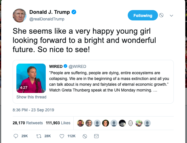 Image result for trump tweet thunberg