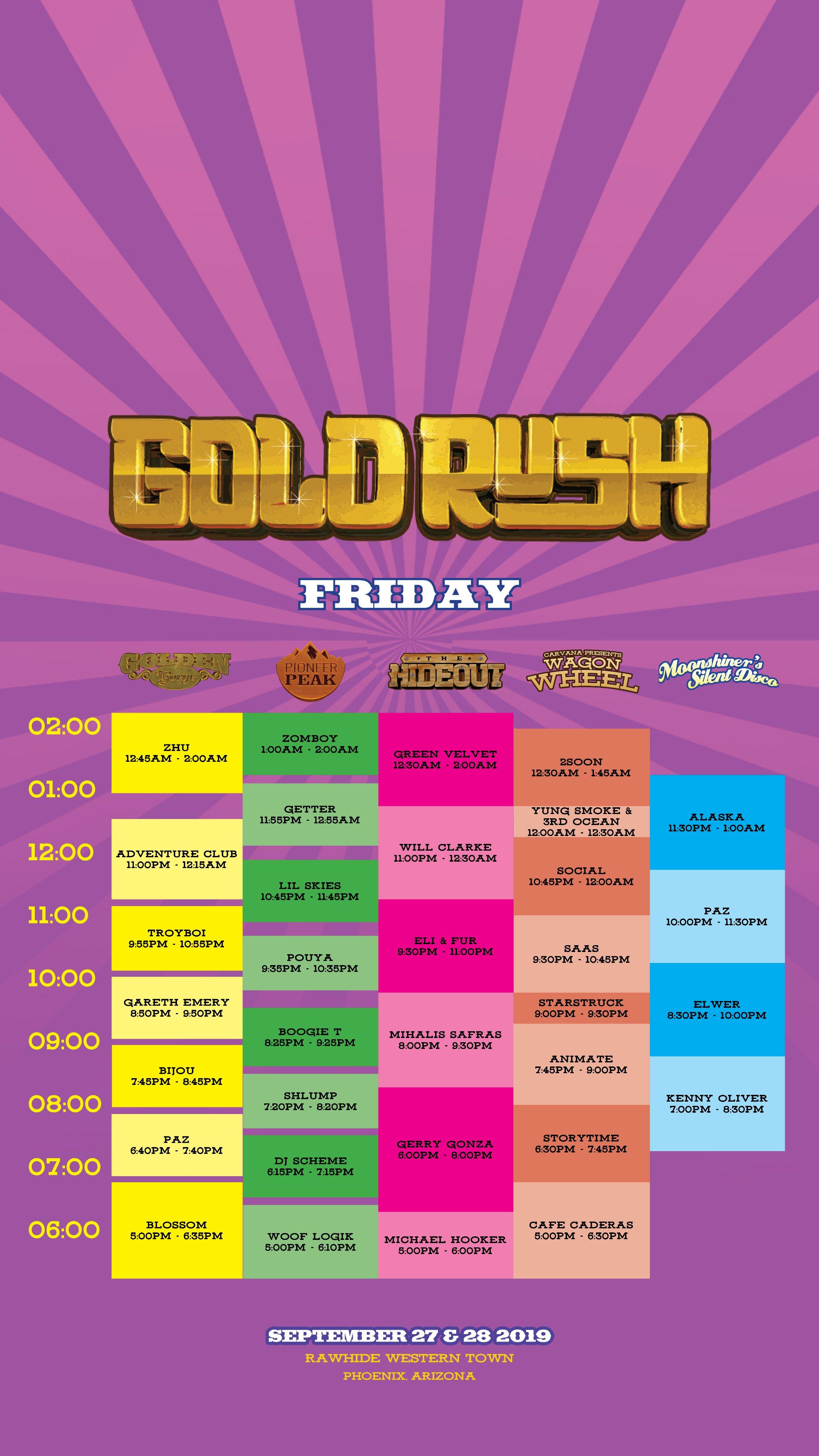 Goldrush Festival schedule 2019
