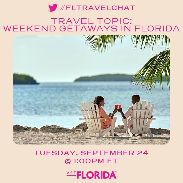 Need to #getaway? Tune in today at 1 p.m. on our Twitter to talk about #weekend getaways in the #SunshineState #FLTravelChat #LoveFL #OnlyatJBR @VISITFLORIDA https://t.co/TWkqzkkW6q