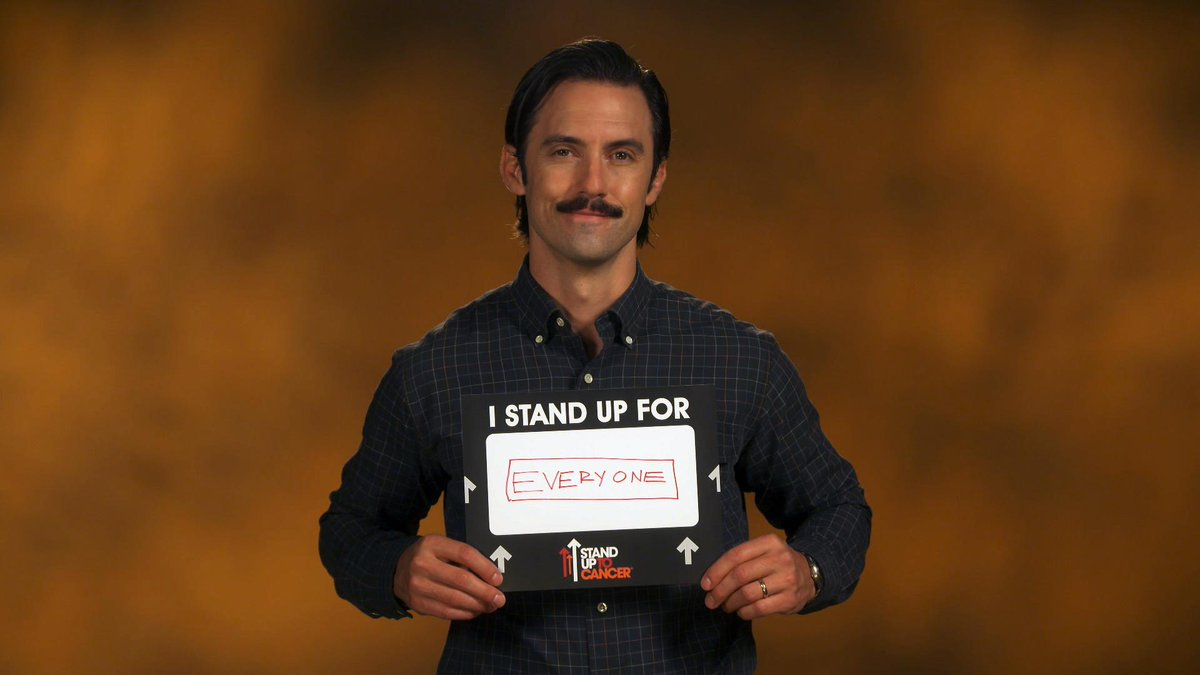 The season premiere of @NBCThisisUs airs tonight on @NBC. Join cast members @MiloVentimiglia, @ChrissyMetz and @JustinHartley and share who you Stand Up for. #StandUpToCancer #ThisIsUs