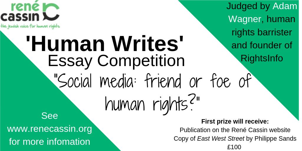 Our essay competition judged by @AdamWagner1 is now open! Click on the link below for more info #CloseToHome #humanrights #socialmedia #HumanWrites renecassin.org/rene-cassins-2…