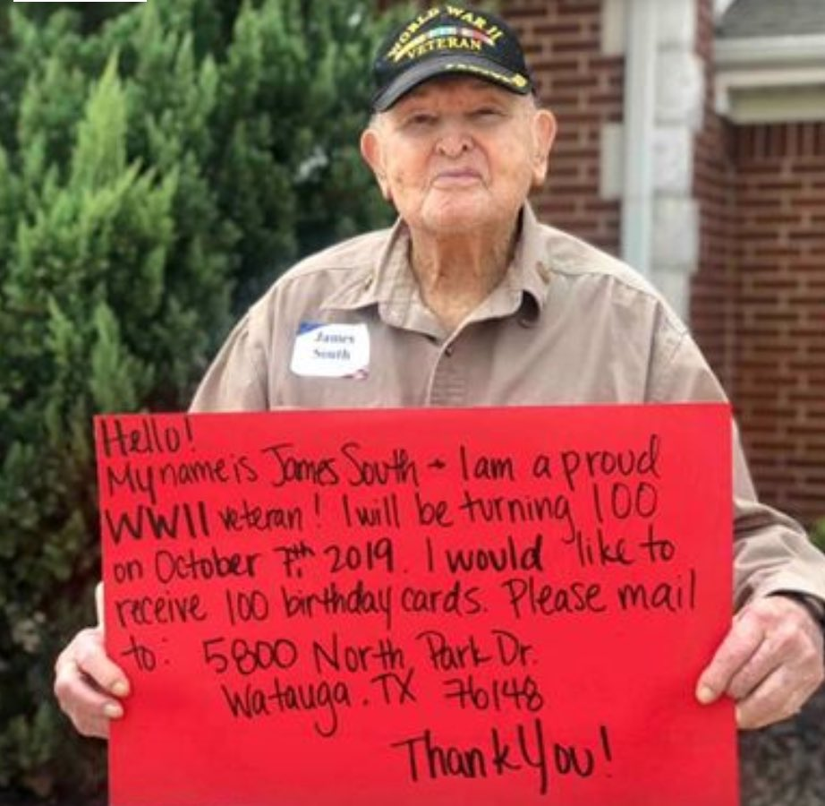 """Let's send this American hero a gazillion cards and say """"Thanks and Happy Birthday!"""" God bless him."""