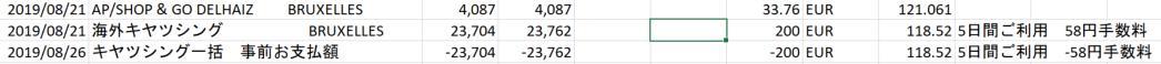 キャッシングは結局118-119¥/€だった。手数料いれても(繰上げ返済済)。同日のクレカ決裁が121¥/€なので、もしかしてクレカよりもお得?まぁ、自分のクレカは7%相当の別途還元あるからやはりクレカ最強か。空港両替よりはやはりキャッシング。フランスベルギーで換金できなかったこと一度もなし。