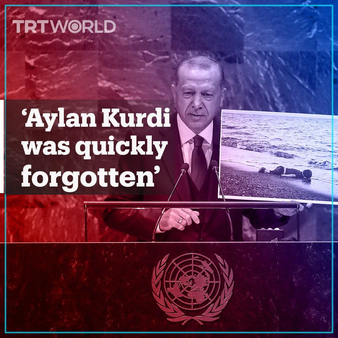 Turkey's President Erdogan raises Syrian crisis, Palestine conflict, Kashmir dispute, and other pressing global issues in #UNGA speech. #KashmirStillUnderSiege  https://www.trtworld.com/americas/erdogan-draws-attention-to-syria-palestine-kashmir-conflicts-unga-2019-30080…