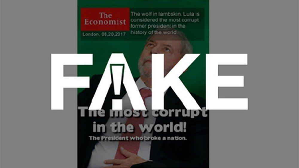 """É #FAKE que revista """"The Economist"""" deu capa com Lula eleito """"o maior corrupto do mundo"""" https://glo.bo/2kVHBJi #FatoOuFake"""