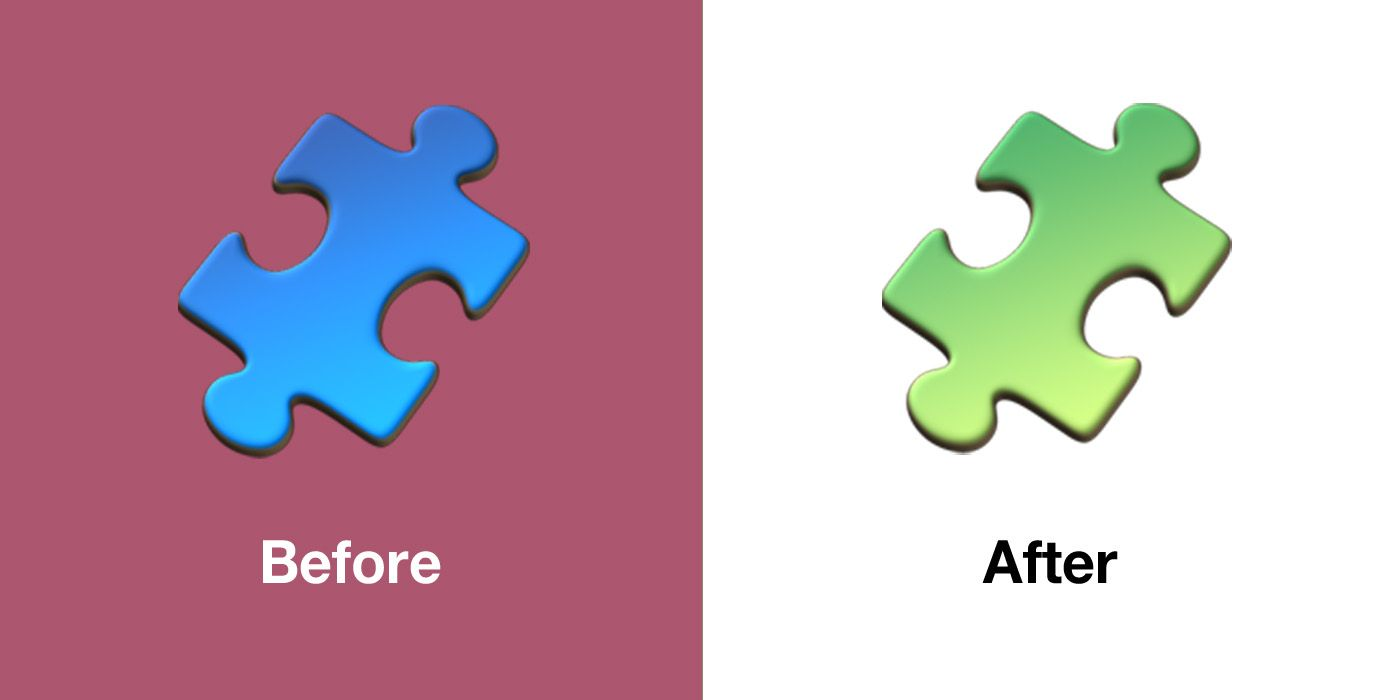 Emojipedia On Twitter Changed In Ios 13 1 Jigsaw Puzzle Piece Has Been Changed From Blue To Green Potentially To Avoid Unintended Association With The Autism Speaks Organization Which Uses A Blue