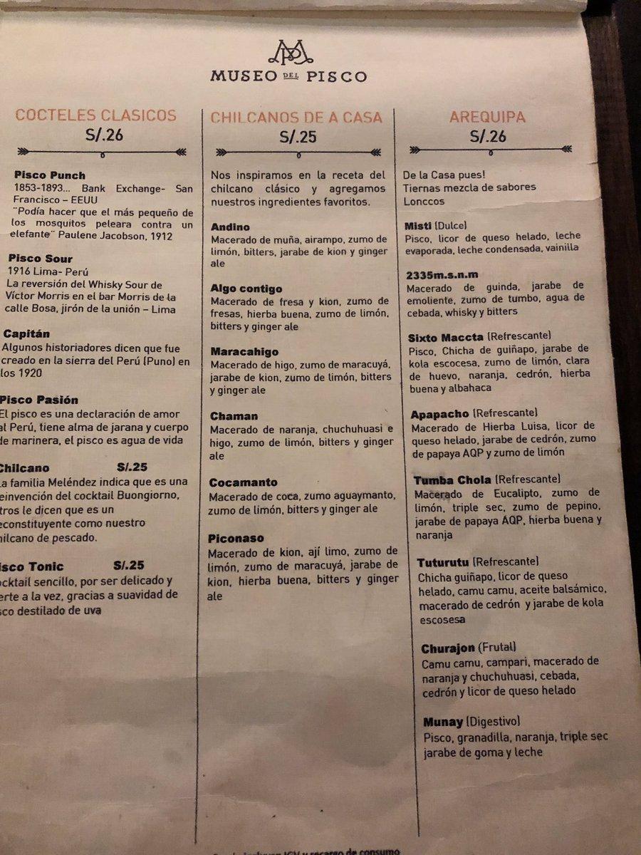 """@gersondelrio (La encontré)  Te dejo este """"torpedo"""", una foto que le tomé al menú de cócteles del @museodelpisco de #Arequipa, un lugar imperdible para quien guste de los buenos cócteles.  El sour es increíble! #MuseodelPisco #Peru https://t.co/oQNtIbi2cW"""