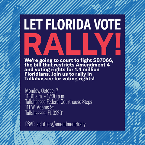 Tallahassee: Speak up and speak out!  Join us on Monday, Oct. 7, when we go to federal court to protect Florida's Amendment 4 and the will of voters as we seek to block SB 7066.  Let's rally to end wealth-based restrictions to voting! https://t.co/wPwtZFEOxQ https://t.co/OUeisNEZ9J