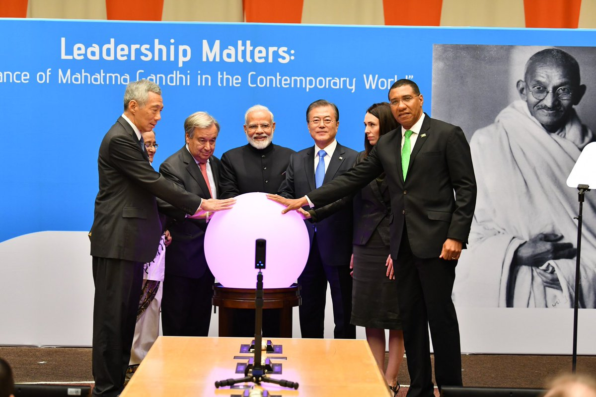 World leaders join PM Modi to commemorate the 150th birth anniversary of Mahatma Gandhi
