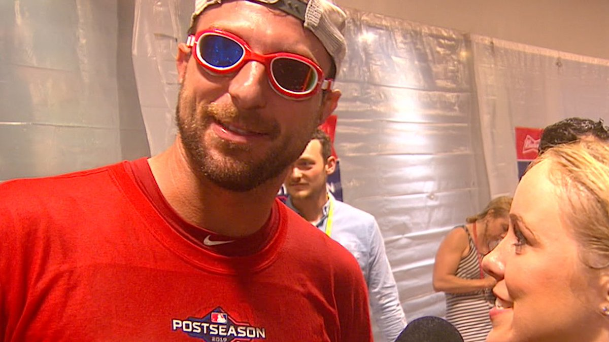 WATCH: Max Scherzer sports different-colored lens goggles to match his eyes