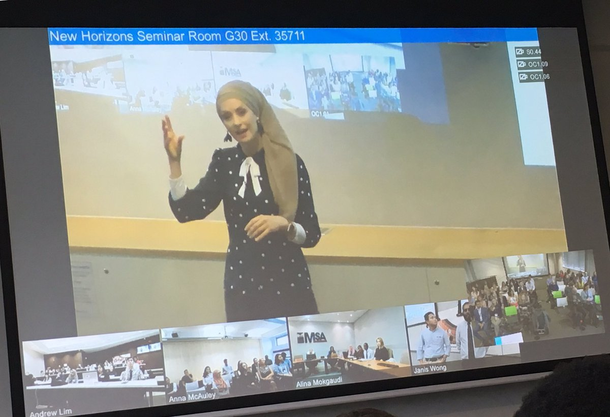 """The importance of collaboration in research - @SusanCarland speaks live from Melbourne to #icur19 students via video conferencing: """"Run your own race, focus on your own work and make a decision to be a collaborative and positive research colleague."""""""
