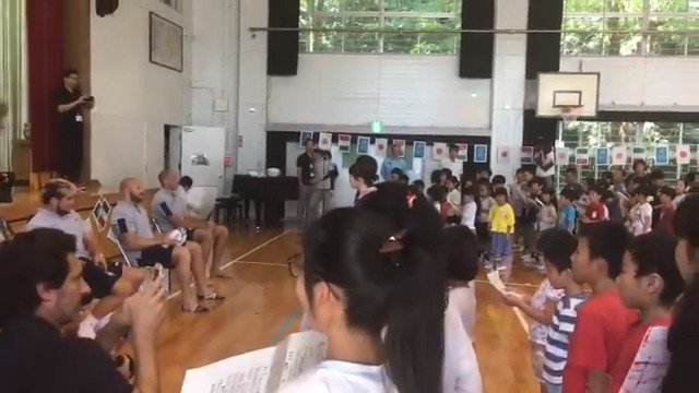 School kids in Fukuoka sing the @federugby national anthem for the players! #ITAvCAN #RWC2019