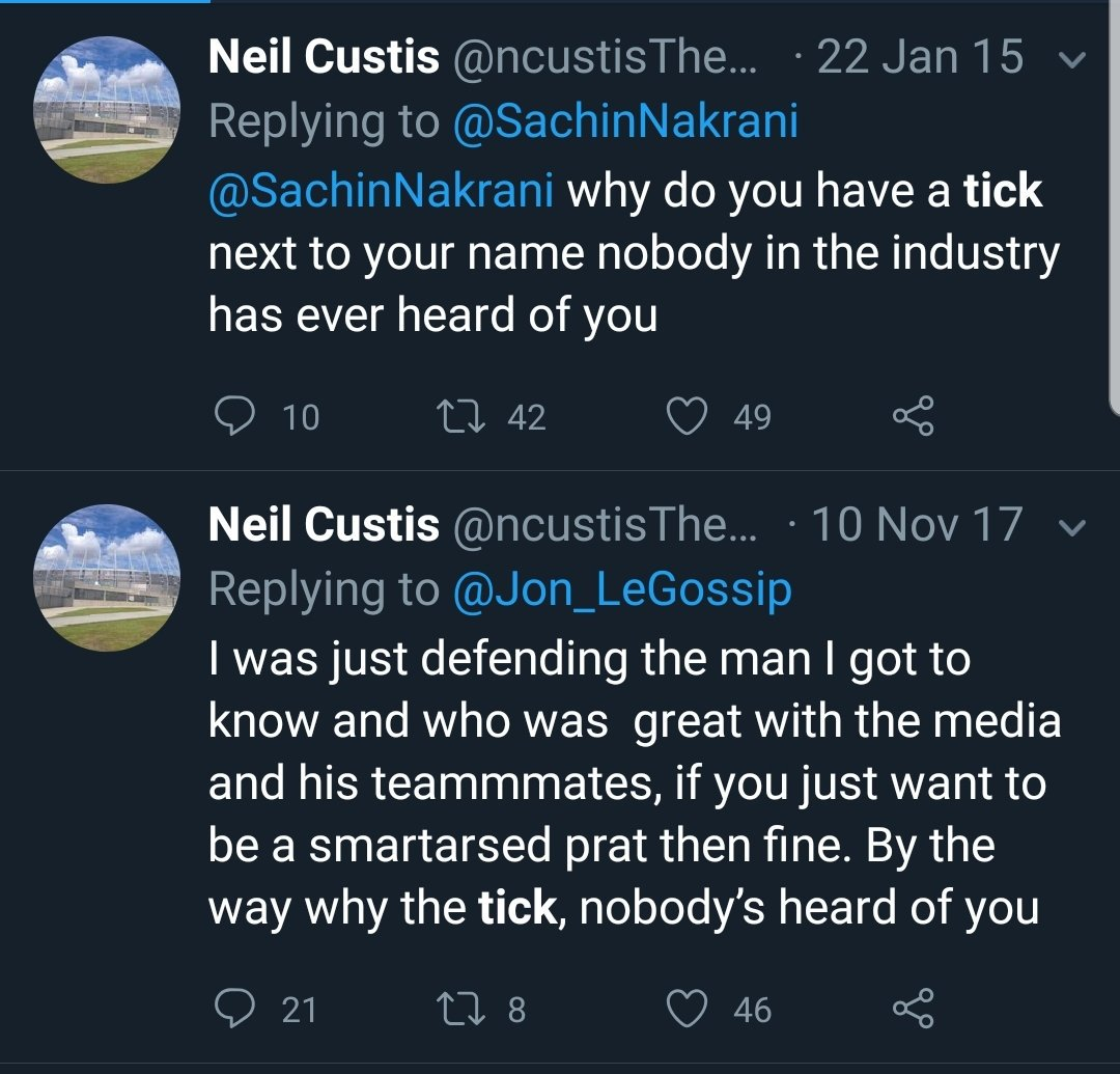 Just discovered that Neil Custis asking why people have blue ticks is a thing. https://t.co/ooVvhmqrLO